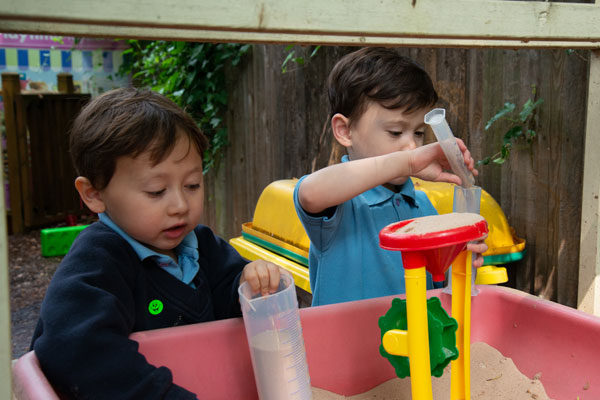 Nursery children in the outside play area